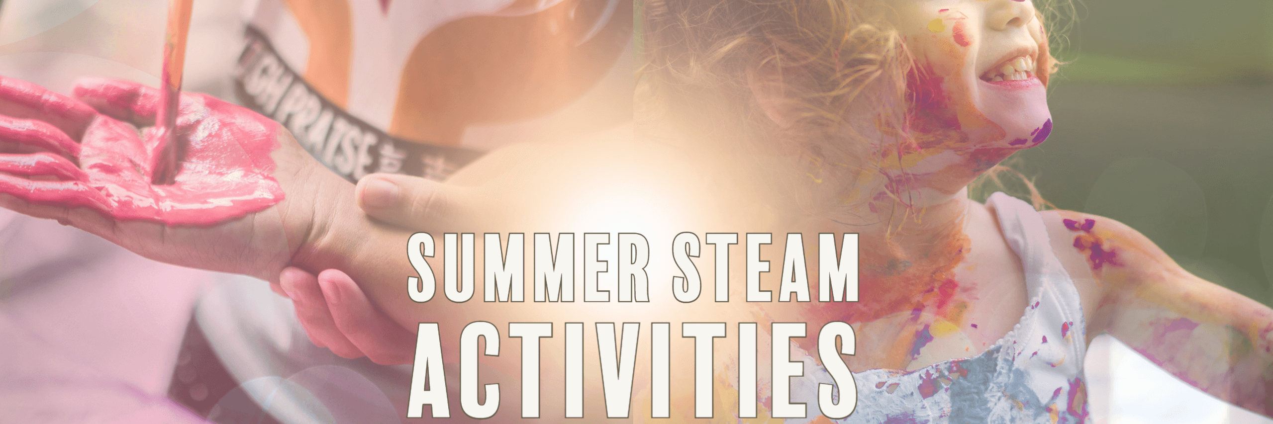 Children playing with paint summer elementary STEM STEAM activities